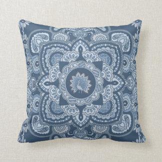 Blue Persian Peacock Throw Pillow