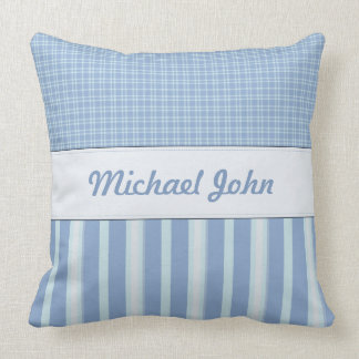 Blue Personalised Baby Nursery Pillow
