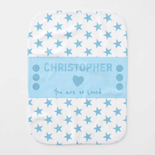 Blue Personalised name white stars Burp Cloth