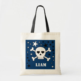 Blue Personalizable Cute Skull Crossbone and Stars Budget Tote Bag