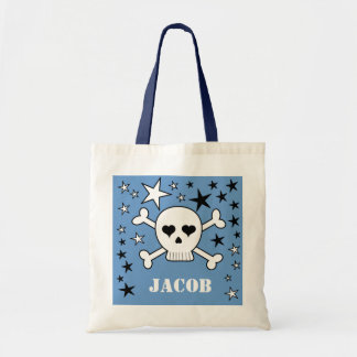 Blue Personalizeable Crossbone Skull and Stars Tote Bags