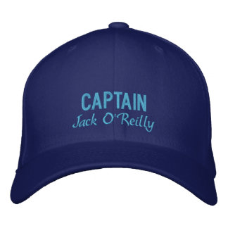 Blue Personalized Captain's Embroidered Hat