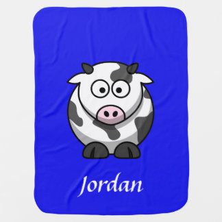 Blue Personalized Cow Blanket Buggy Blanket