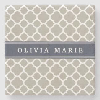 Blue Personalized Name Grey Quatrefoil Pattern Stone Coaster