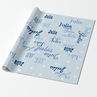 blue personalized name pattern wrapping paper