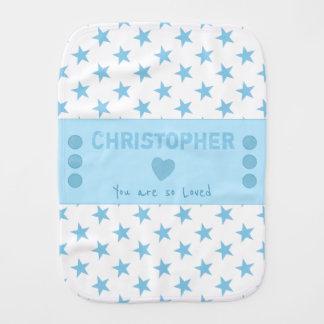 Blue Personalized name white stars Burp Cloth