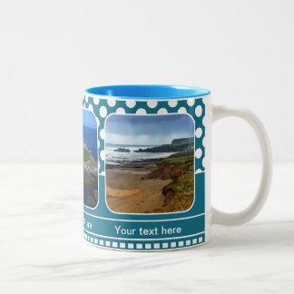 Blue Personalized Polka Dot Photo Frame Mug