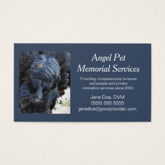 Blue Pet Guardian Angel Memorial Services Business Card