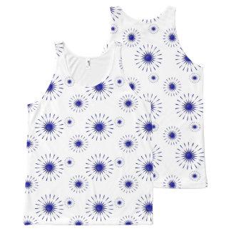 blue petals All-Over print tank top