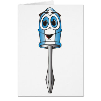 Blue Phillips Screwdriver Greeting Card