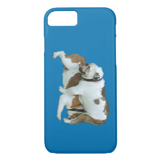 Blue phone case with two confused bulldogs