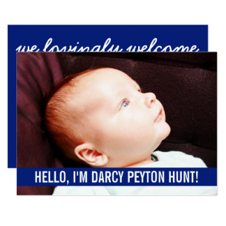 Blue Photo Baby Birth Announcements