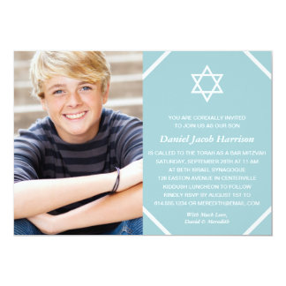 Blue Photo Bar Mitzvah Invitation