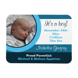 Blue Photo Birth Announcement Flex Flat Magnet
