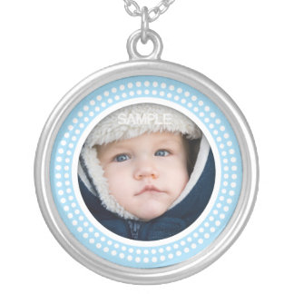 Blue photo frame necklace - customizable pendant