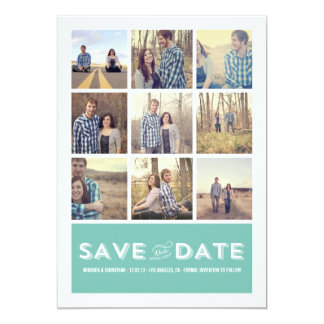 Blue Photo Grid Save The Date Announcements