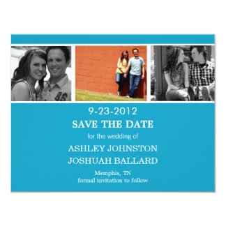 Blue Photo Strip Save The Date Invites