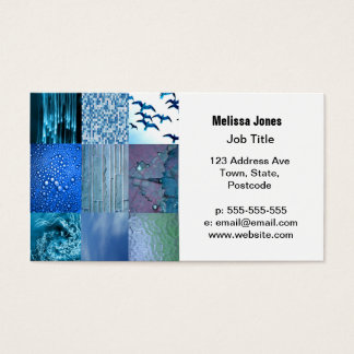 Blue Photography Collage Business Card