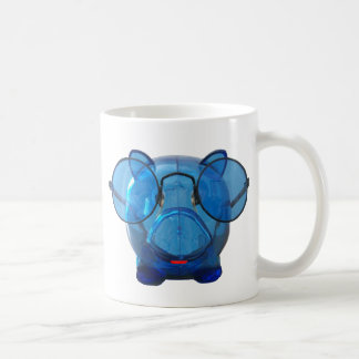 Blue Piggy Bank with Glasses Coffee Mugs