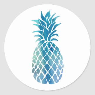 blue pineapple design classic round sticker