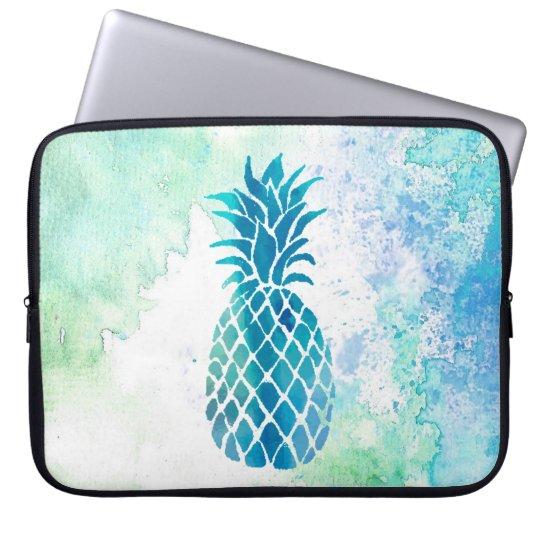 blue pineapple on watercolor splash laptop sleeve