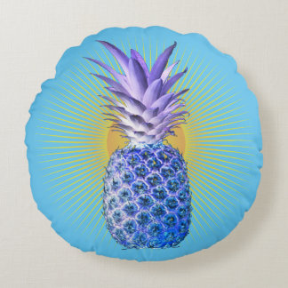 Blue Pineapple Threads For The People Round Cushion