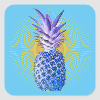 Blue Pineapple Threads For The People Square Sticker