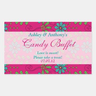 Blue Pink Abstract Daisy Floral Candy Buffet Rectangular Sticker