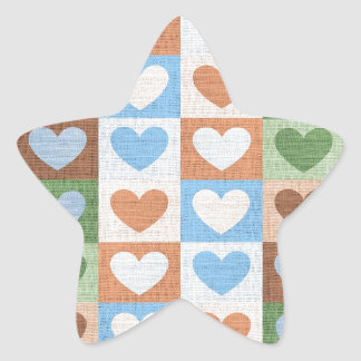 Blue Pink and Green Love Hearts on Fabric Star Sticker