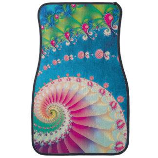 Blue Pink and Green Spiral Fractal Floor Mat