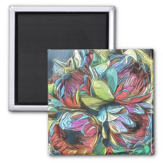 Blue, Pink, and Green Surreal Flower Magnet