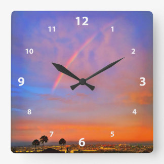 Blue pink and orange sky rainbow sunrise photo square wall clock