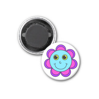 Blue Pink and Purple Flower Smiley Face Magnet