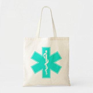 Blue Pink Aqua Baby Hot  Nurse EMS Star of Life Tote Bag