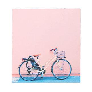 Blue Pink Bike Basket Bicycle Wheels Notepad