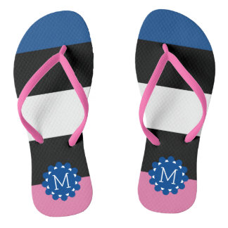 Blue Pink Black White Licorice All-Sorts Monogram Thongs