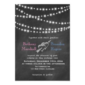 Blue & Pink Blackboard Twinkle Lights Invite