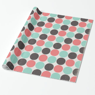 Blue Pink Brown Vintage Polka Dots Wrapping Paper