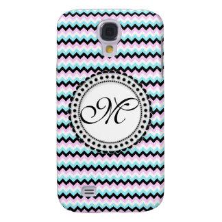 Blue & Pink Chevron Monogram Customizable Design Galaxy S4 Covers