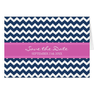 Blue Pink Chevron Save the Date Announcement Card