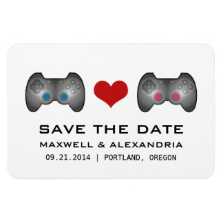Blue Pink Cute Gamer Save the Date Magnet Flexible Magnets