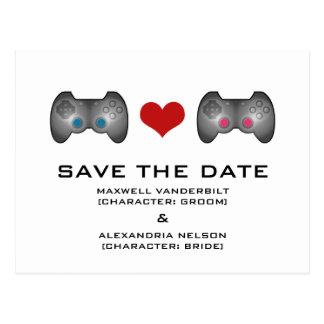 Blue Pink Cute Gamer Save the Date Postcard