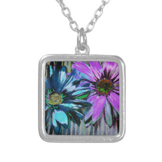 Blue Pink Daisy Flower Art Silver Plated Necklace