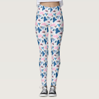 Blue-Pink Designer Leggings