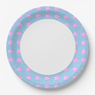 Blue-Pink-Floral-Celebrations-Birth-Everyday Paper Plate
