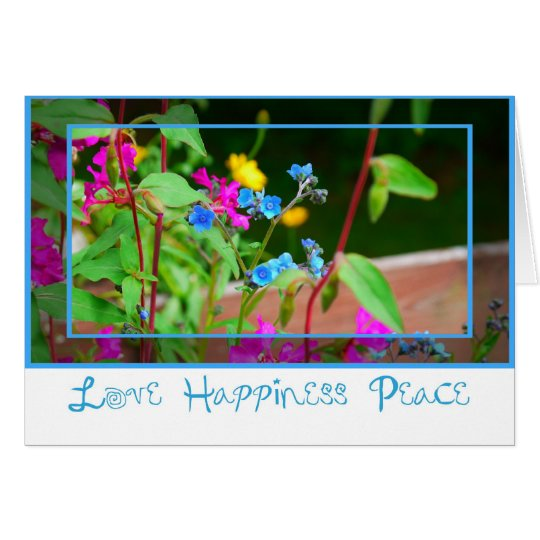 Blue-Pink Flower-Card Card
