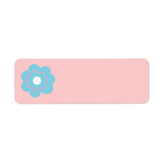 Blue Pink Flower Return Address Label
