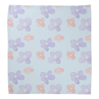 Blue Pink Flowers on pastel blue Bandana