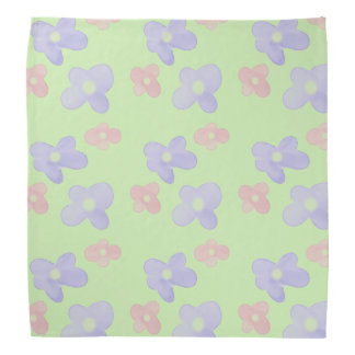 Blue Pink Flowers on pastel green Bandana