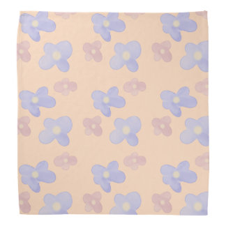 Blue Pink Flowers on pastel pink Bandana